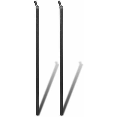 vidaXL Poste puntal de refuerzo para alambrado 2 unidades 150 cm gris