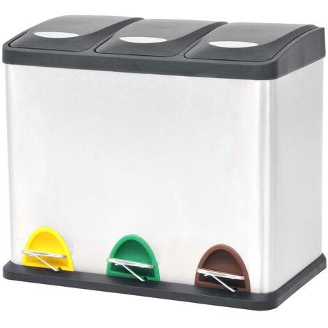 vidaXL Poubelle de Recyclage Acier Inoxydable Poubelle de Déchets Corbeille de Déchets Maison Bureau Intérieur Multi-taille Multicolore