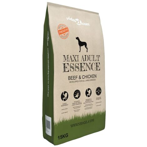 vidaXL Premium Dry Dog Food Puppy Pet Kibble Supplies Adult/Maxi Adult Beef/Lamb & Rice/Beef & Chicken/ Chicken & Fish 15 kg/30 kg