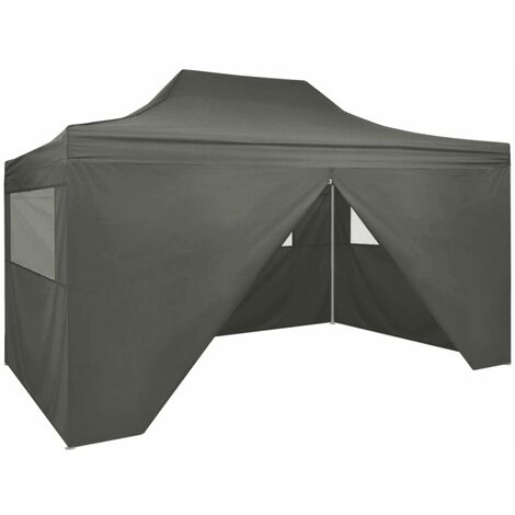 vidaXL Professional Folding Party Tent with 4 Sidewalls 3x4 m Steel Anthracite - Anthracite