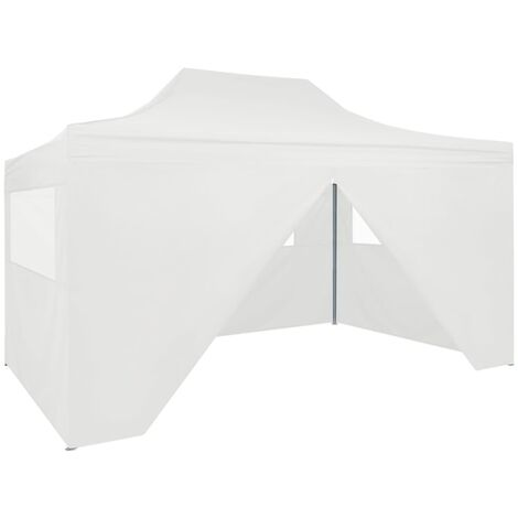 vidaXL Professional Folding Party Tent with 4 Sidewalls 3x4 m Steel White - White