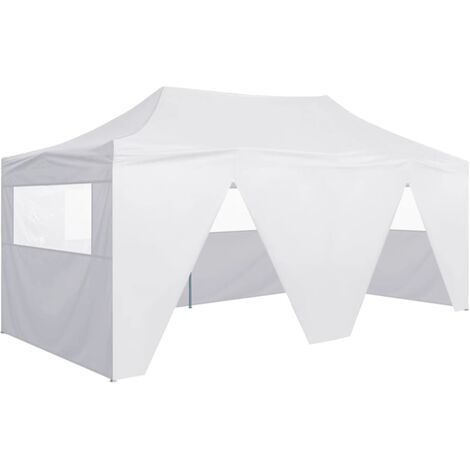 vidaXL Professional Folding Party Tent with 4 Sidewalls 3x6 m Steel White - White