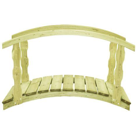 vidaXL Puente para jardín con barandilla madera pino 170x74x105cm - Verde