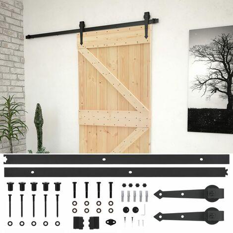 """main image of """"vidaXL Puerta corredera con herrajes madera maciza de pino 80x210 cm - Marrón"""""""