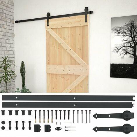 """main image of """"vidaXL Puerta corredera con herrajes madera maciza de pino 90x210 cm - Marrón"""""""