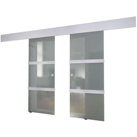 vidaXL Puerta corredera doble de vidrio - Transparente