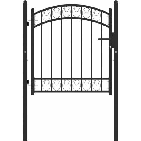 vidaXL Puerta de jardín con arco superior acero negro 100x100 cm - Negro