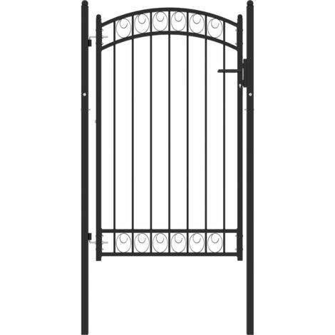 vidaXL Puerta de jardín con arco superior acero negro 100x150 cm - Negro