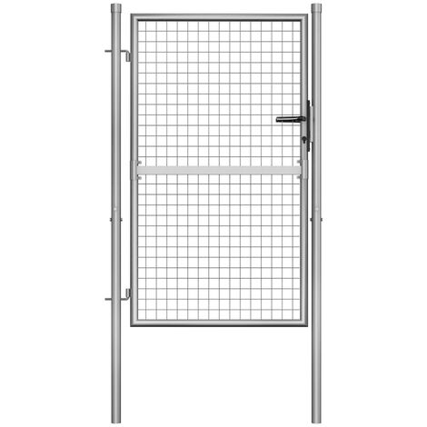 vidaXL Puerta de jardín de acero galvanizado plateado 105x175 cm - Plateado