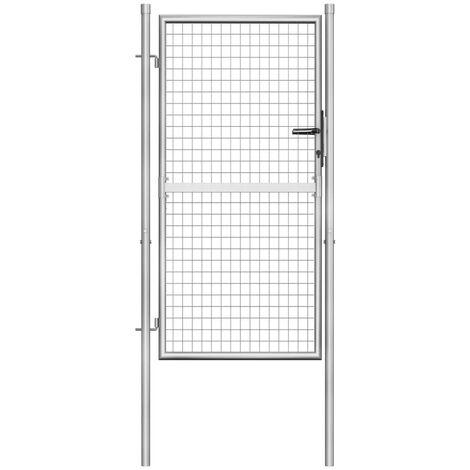 vidaXL Puerta de jardín de acero galvanizado plateado 105x200 cm - Plateado