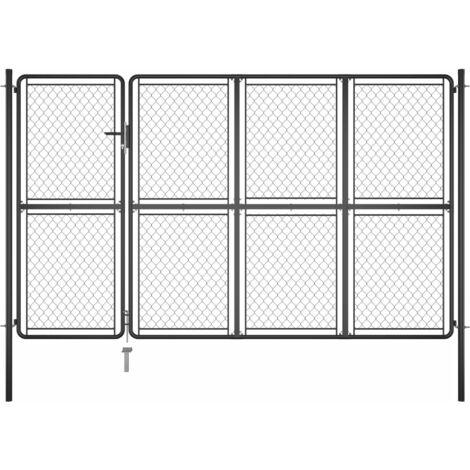 vidaXL Puerta de jardín de acero gris antracita 200x350 cm - Antracita