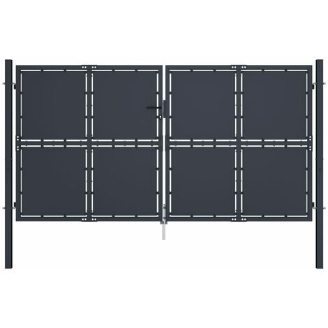 vidaXL Puerta de jardín de acero gris antracita 300x200 cm - Gris