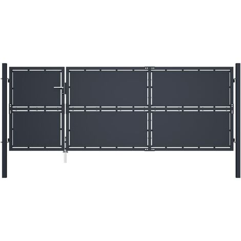 vidaXL Puerta de jardín de acero gris antracita 350x125 cm - Gris