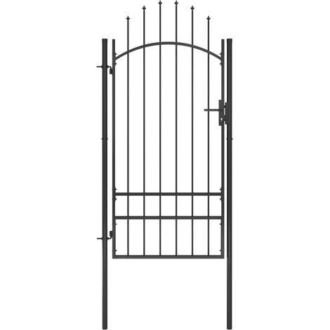 vidaXL Puerta de jardín de acero negro 1x2,5 m - Negro