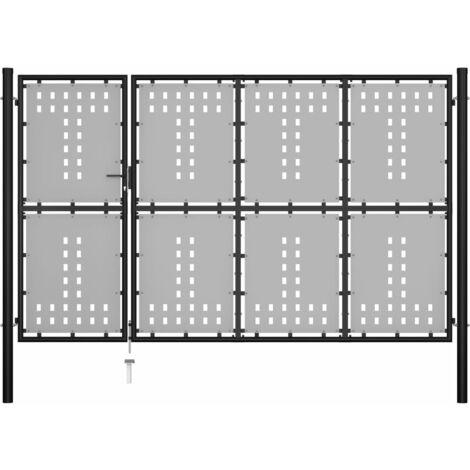 vidaXL Puerta de jardín de acero negro 350x175 cm - Negro