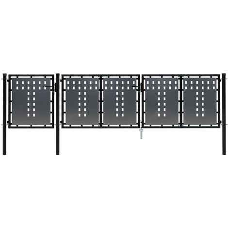 vidaXL Puerta de jardín de acero negro 400x100 cm - Negro