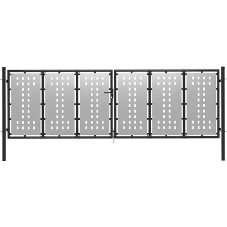 vidaXL Puerta de jardín de acero plateado 400x75 cm - Plateado