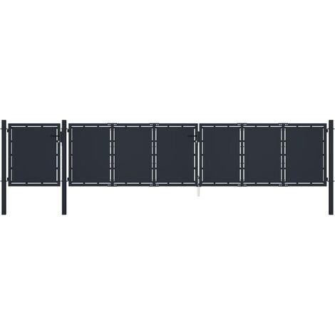 vidaXL Puerta de jardín de metal gris antracita 5x1,5 m - Antracita