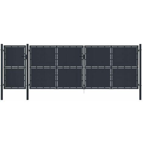 vidaXL Puerta de jardín de metal gris antracita 5x2 m - Antracita