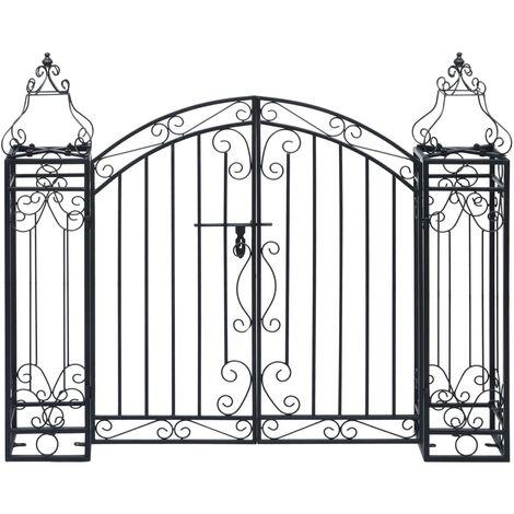 vidaXL Puerta de jardín decorativa de hierro forjado 122x20,5x100 cm - Negro