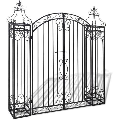 vidaXL Puerta de jardín decorativa de hierro forjado 122x20,5x134 cm - Negro