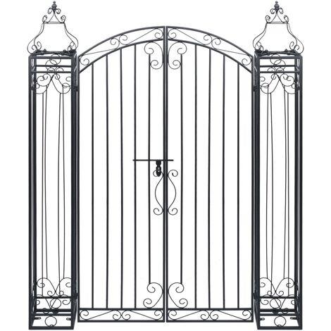 vidaXL Puerta de jardín decorativa de hierro forjado 122x20,5x160 cm - Negro