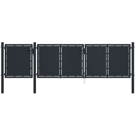 vidaXL Puerta de jardín metal gris antracita 4x1,5 m - Antracita