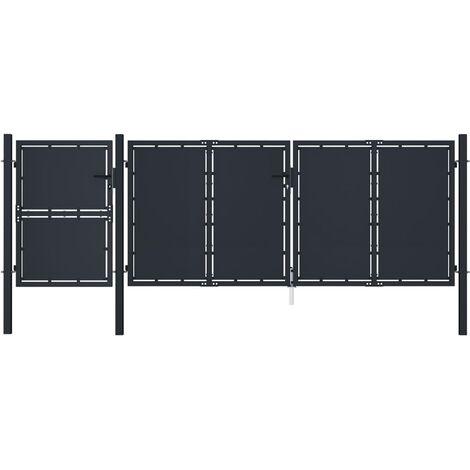 vidaXL Puerta de jardín metal gris antracita 4x1,75 m - Antracita