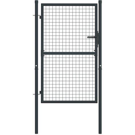 vidaXL Puerta de malla de jardín acero galvanizado gris 100x175 cm - Gris