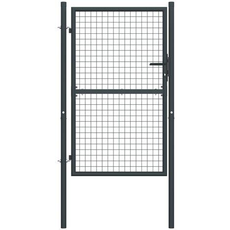 vidaXL Puerta de malla de jardín acero galvanizado gris 100x200 cm - Gris