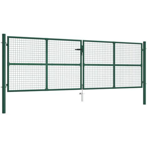 vidaXL Puerta de malla para jardín de acero verde 400x125 cm - Verde
