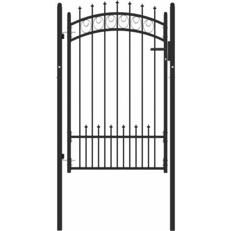 vidaXL Puerta de valla con picos acero negro 100x150 cm - Negro