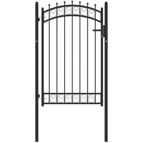 """main image of """"vidaXL Puerta de valla con picos acero negro 100x150 cm - Negro"""""""