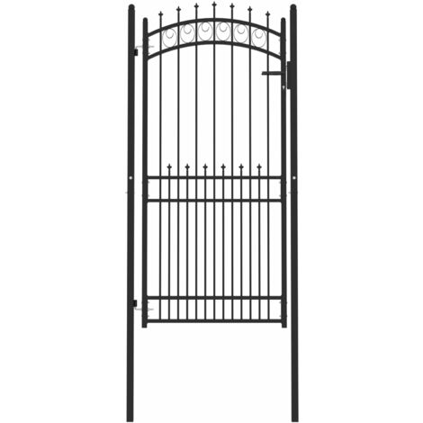 """main image of """"vidaXL Puerta de valla con picos acero negro 100x200 cm - Negro"""""""