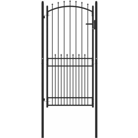 vidaXL Puerta de valla con picos acero negro 100x200 cm - Negro