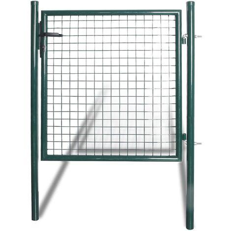 vidaXL Puerta de valla de acero con recubrimiento en polvo - Verde
