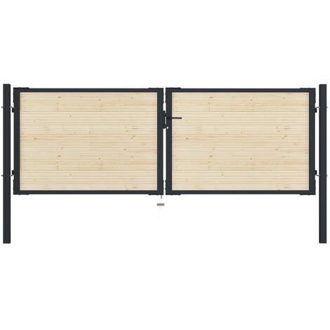 vidaXL Puerta de valla de acero y madera de abeto 310x150 cm - Marrón