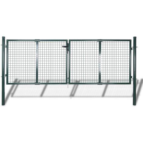 vidaXL Puerta de valla de acero verde 306x150 cm - Verde