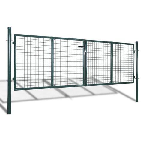 vidaXL Puerta de valla de jardin 289x100 cm/306x150 cm acero verde
