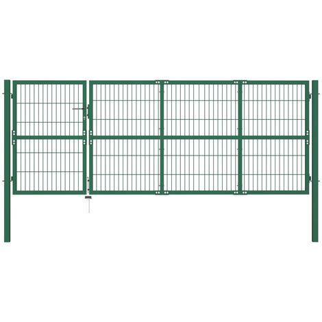 vidaXL Puerta de valla de jardín con postes acero verde 350x120 cm  - Verde