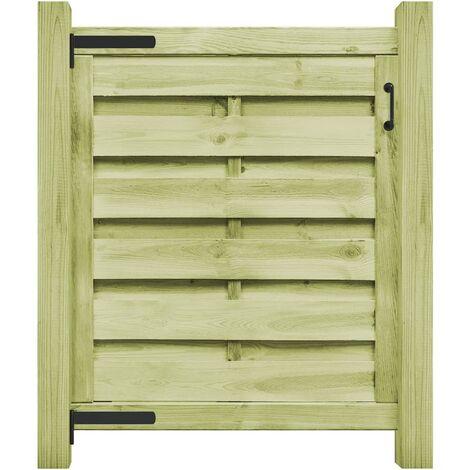 vidaXL Puerta de valla madera de pino impregnada 100x100 cm verde - Verde