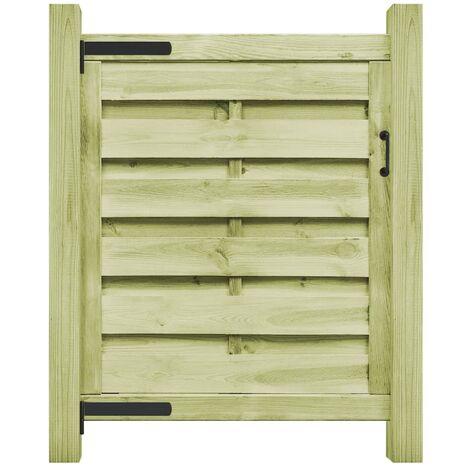 vidaXL Puerta de valla madera de pino impregnada verde 100x100 cm - Verde