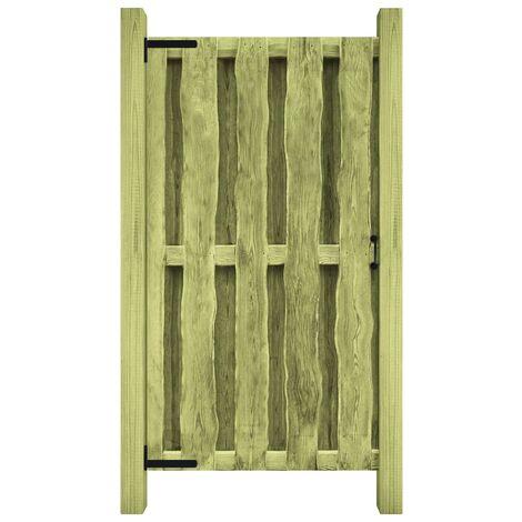 vidaXL Puerta de valla madera de pino impregnada verde 100x150 cm - Verde