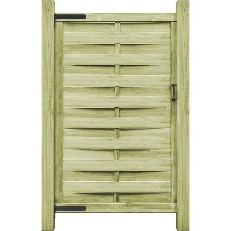 vidaXL Puerta de valla madera de pino impregnada verde 100x200 cm - Verde