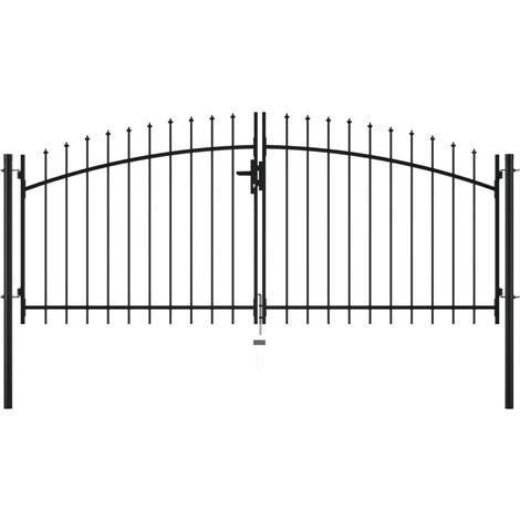 vidaXL Puerta doble para valla con puntas de lanza 300x150 cm - Negro