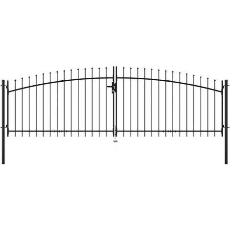 vidaXL Puerta doble para valla con puntas de lanza 400x175 cm - Negro