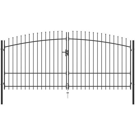 vidaXL Puerta doble para valla con puntas de lanza 400x225 cm - Negro