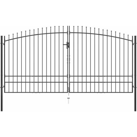 vidaXL Puerta doble para valla con puntas de lanza 400x248 cm - Negro