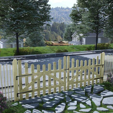 vidaXL Puertas de valla 2 uds madera de pino impregnada 150x120 cm - Verde