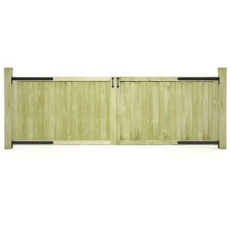 vidaXL Puertas de valla madera 2 uds de pino impregnada 300x100 cm - Verde